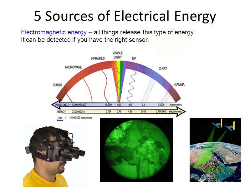 Electromagnetic energy – all things release this type of energy It can be detected if you have the right sensor. 5 Sources of Electrical Energy