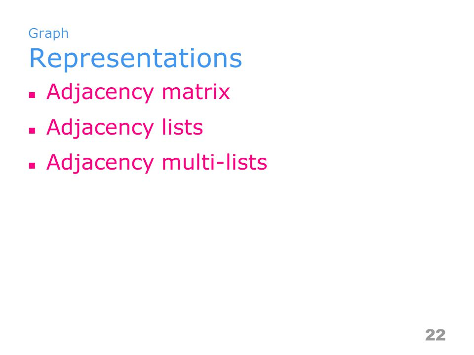 Graph Representations Adjacency matrix Adjacency lists Adjacency multi-lists 22