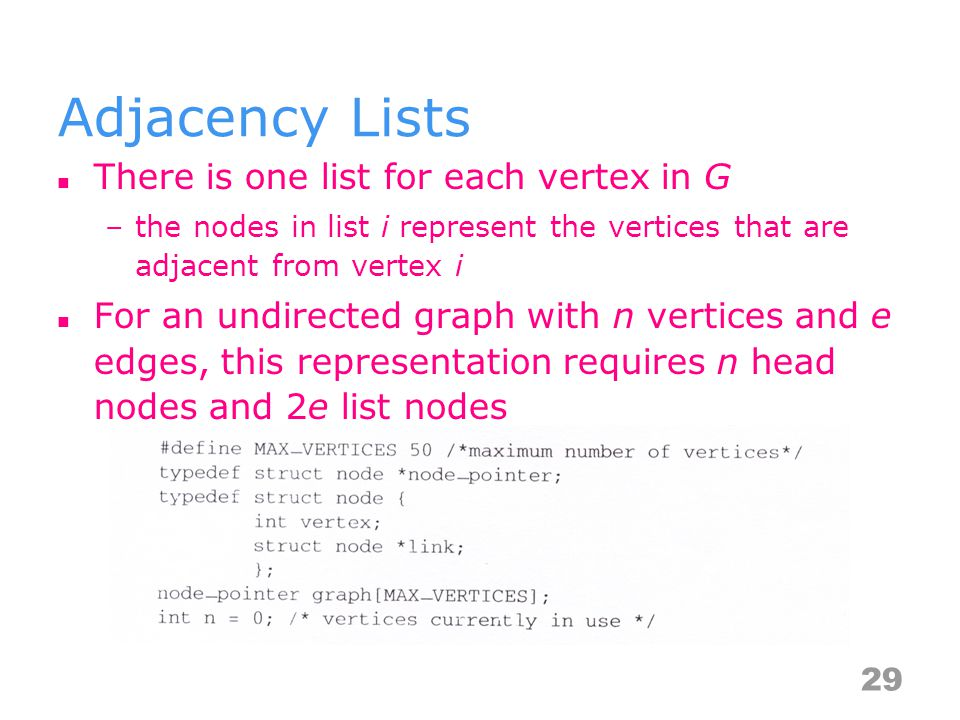 Adjacency Lists There is one list for each vertex in G –the nodes in list i represent the vertices that are adjacent from vertex i For an undirected g