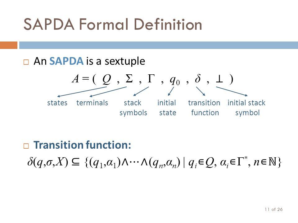 SAPDA Formal Definition of 26 11  An SAPDA is a sextuple A = ( Q, Σ, Γ, q 0, δ, ⊥ )  Transition function: δ(q,σ, X ) ⊆ {(q 1,α 1 ) ∧ ⋯ ∧ (q n,α n )