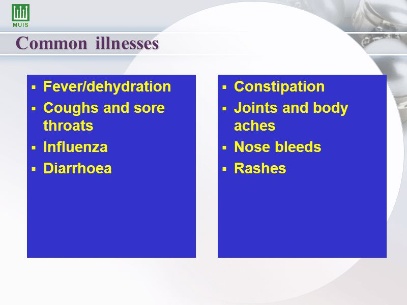 Common illnesses   Fever/dehydration   Coughs and sore throats   Influenza   Diarrhoea  Constipation  Joints and body aches  Nose bleeds  Rashes