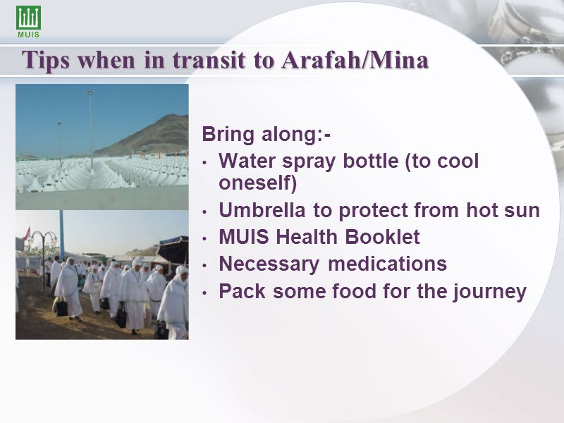 Tips when in transit to Arafah/Mina Bring along:- Water spray bottle (to cool oneself) Umbrella to protect from hot sun MUIS Health Booklet Necessary medications Pack some food for the journey