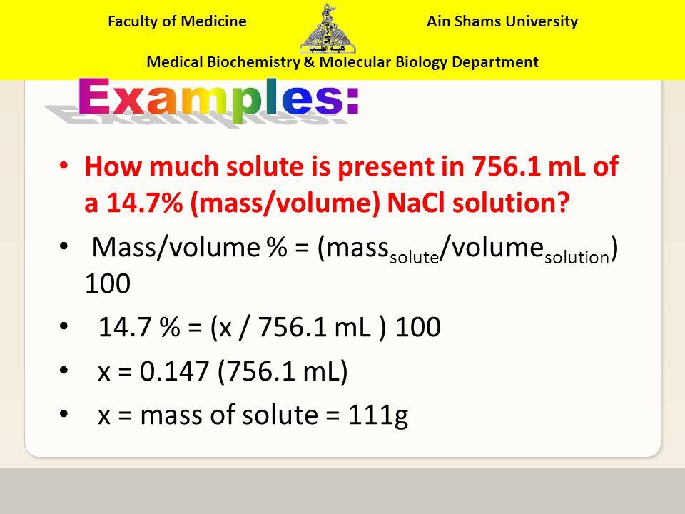 Faculty of Medicine Ain Shams University Medical Biochemistry & Molecular Biology Department 10% Ethanol Solution (v/v) Volume-Volume %