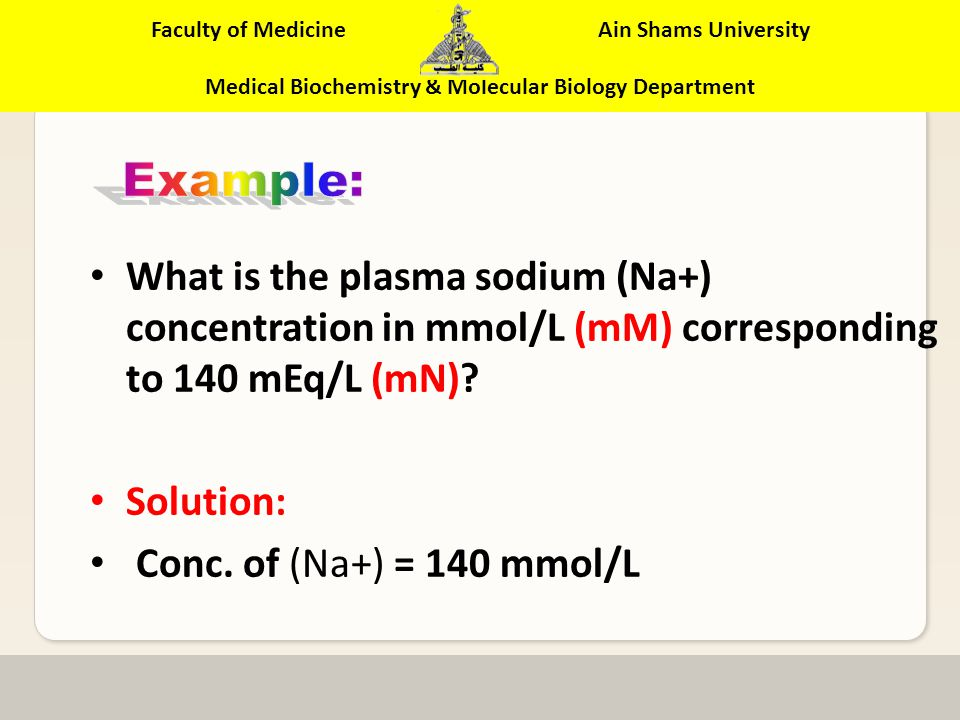 Faculty of Medicine Ain Shams University Medical Biochemistry & Molecular Biology Department What is the plasma urea concentration in mmol/L corresponding to 20 mg/dL.