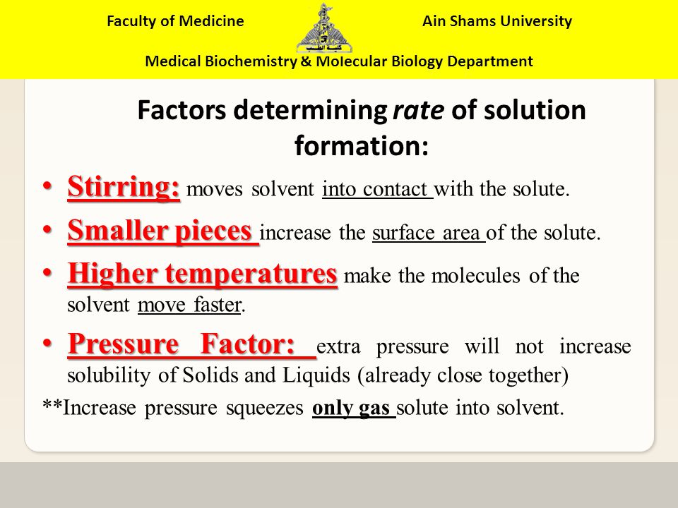 Faculty of Medicine Ain Shams University Medical Biochemistry & Molecular Biology Department Stirring Smaller pieces.
