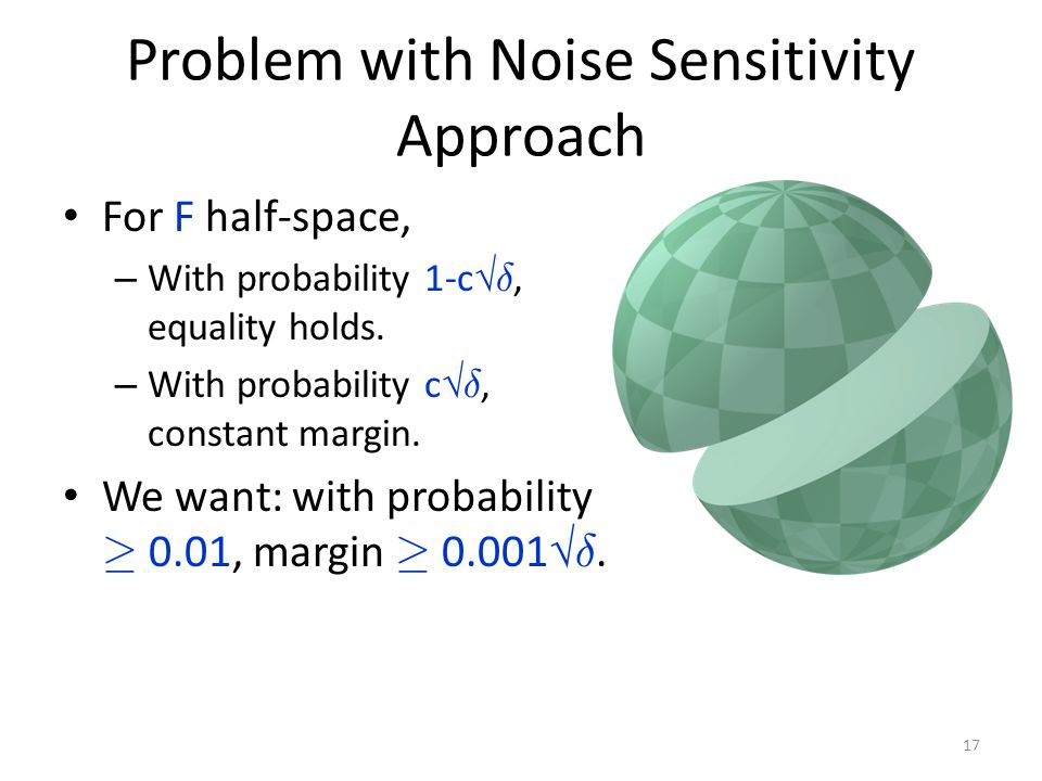 Problem with Noise Sensitivity Approach For F half-space, – With probability 1-c  ±, equality holds.