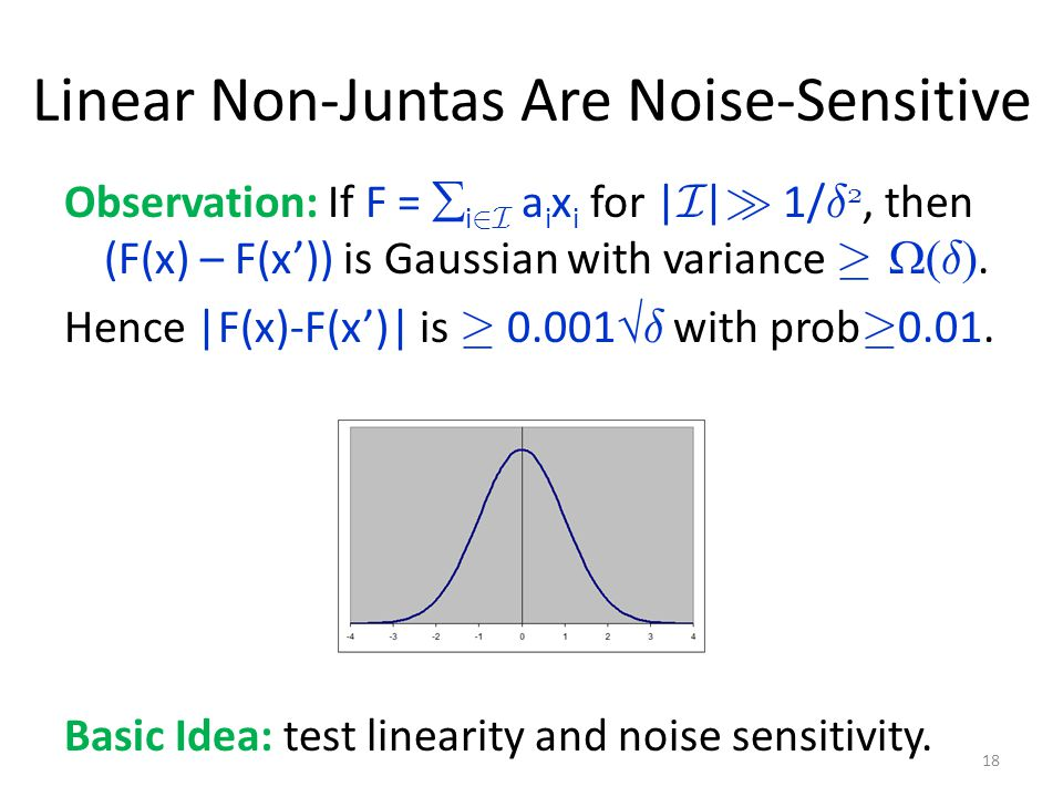Linear Non-Juntas Are Noise-Sensitive Observation: If F =  i 2I a i x i for | I | À 1/ ± 2, then (F(x) – F(x')) is Gaussian with variance ¸  ± .