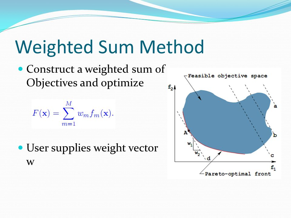 Weighted Sum Method Construct a weighted sum of Objectives and optimize User supplies weight vector w