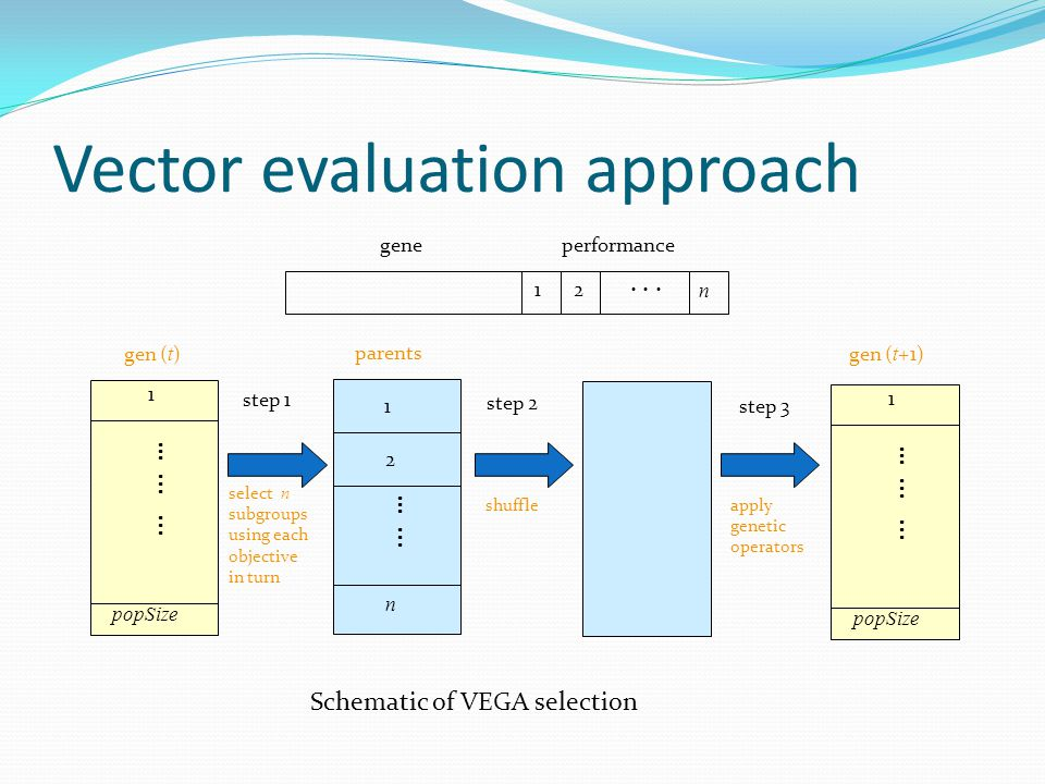Schematic of VEGA selection step 1 step 2 step 3 select n subgroups using each objective in turn shuffleapply genetic operators n 1 2 …...