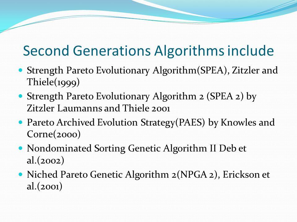 Second Generations Algorithms include Strength Pareto Evolutionary Algorithm(SPEA), Zitzler and Thiele(1999) Strength Pareto Evolutionary Algorithm 2 (SPEA 2) by Zitzler Laumanns and Thiele 2001 Pareto Archived Evolution Strategy(PAES) by Knowles and Corne(2000) Nondominated Sorting Genetic Algorithm II Deb et al.(2002) Niched Pareto Genetic Algorithm 2(NPGA 2), Erickson et al.(2001)