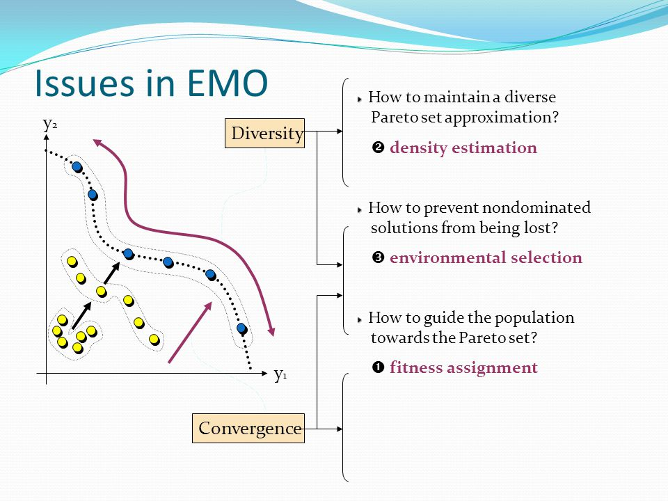 Issues in EMO y2y2 y1y1 Diversity Convergence How to maintain a diverse Pareto set approximation.