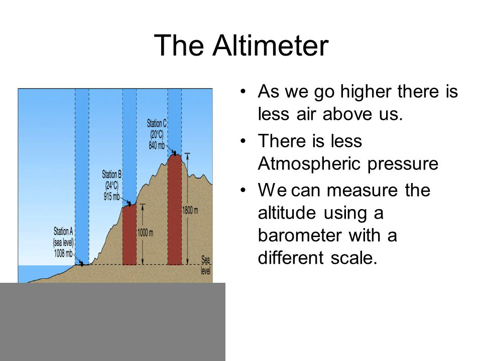The Barometer The weight of the air holds up the mercury. If we use water the column is 10.4m high. 1 Atmosphere is 760mm of Hg.