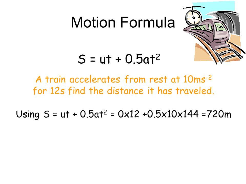Motion Formula v = u + at A car starts from rest and accelerates for 12s at 2ms -2. Find the final velocity. U=30 s=200 and v = 0 find a=? v2 v2 = u2