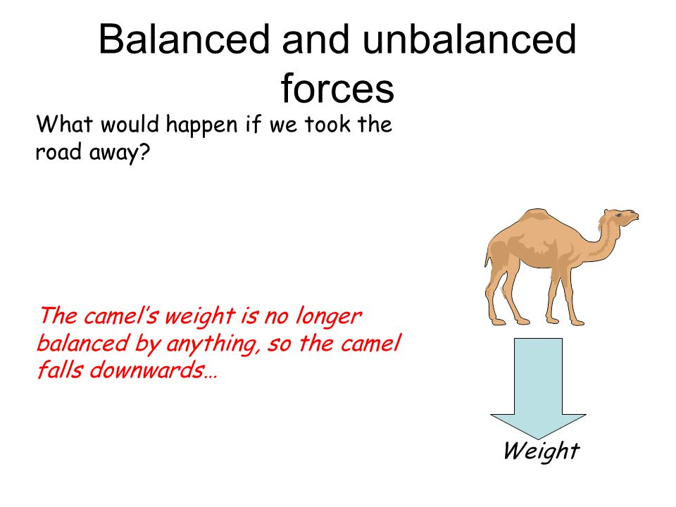 Balanced and unbalanced forces What would happen if we took the road away? Weight Reaction