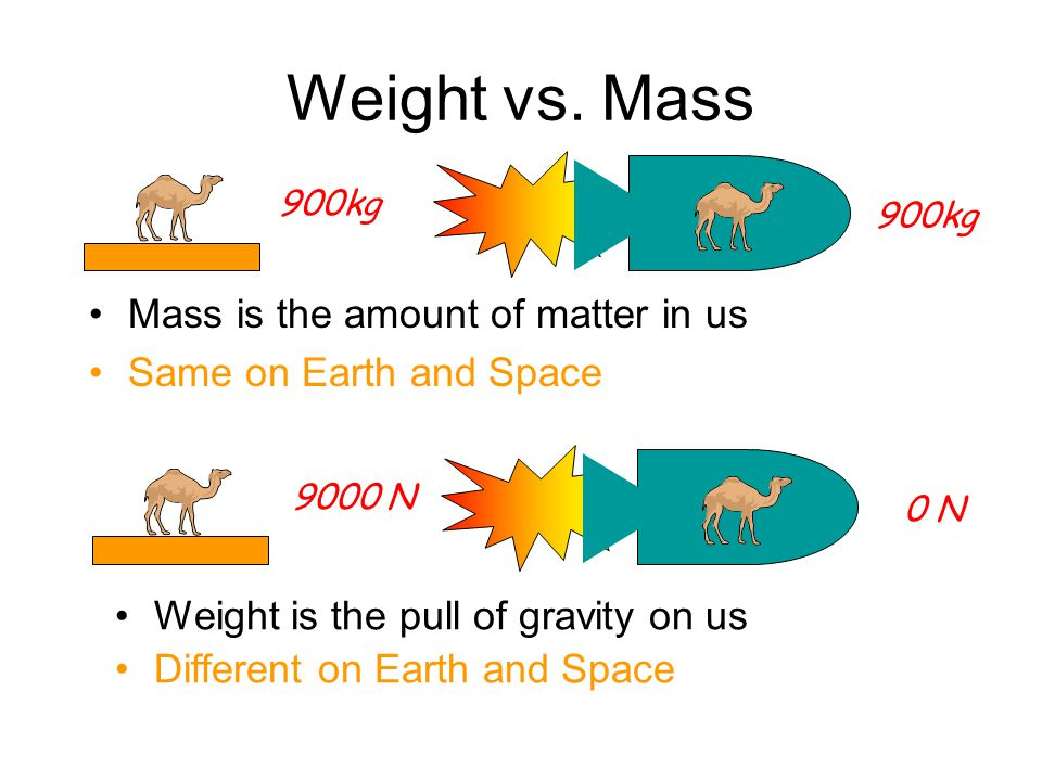 Weight vs. Mass Earth's Gravitational Field Strength is 9.8m/s 2. In other words, a 1kg mass is pulled downwards by a force of 9.8N. W gM Weight = Mas