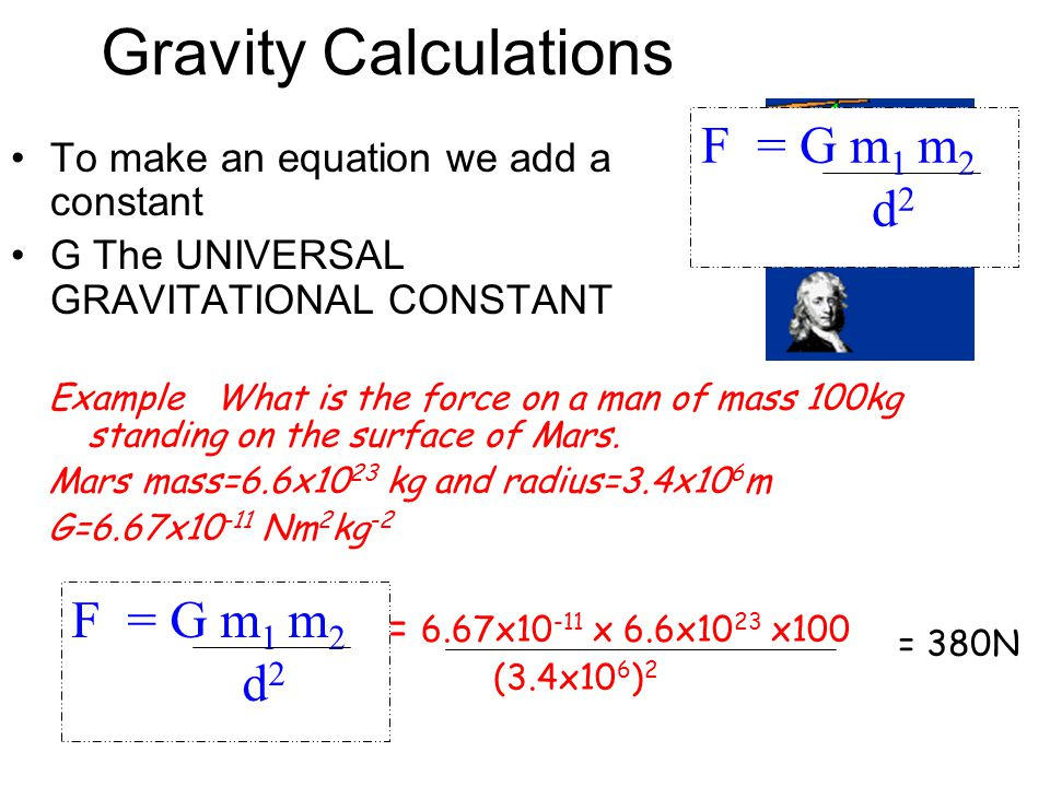 Newton's Law of Gravitation This force is always positiveThis force is always positive Called an inverse square lawCalled an inverse square law F  m
