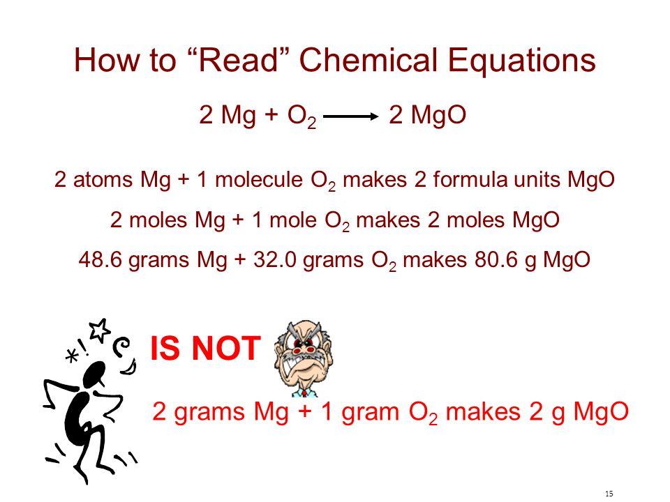 "15 How to ""Read"" Chemical Equations 2 Mg + O 2 2 MgO 2 atoms Mg + 1 molecule O 2 makes 2 formula units MgO 2 moles Mg + 1 mole O 2 makes 2 moles MgO 4"