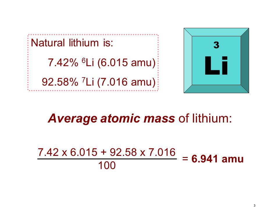 3 Natural lithium is: 7.42% 6 Li (6.015 amu) 92.58% 7 Li (7.016 amu) 7.42 x 6.015 + 92.58 x 7.016 100 = 6.941 amu Average atomic mass of lithium: 3 Li