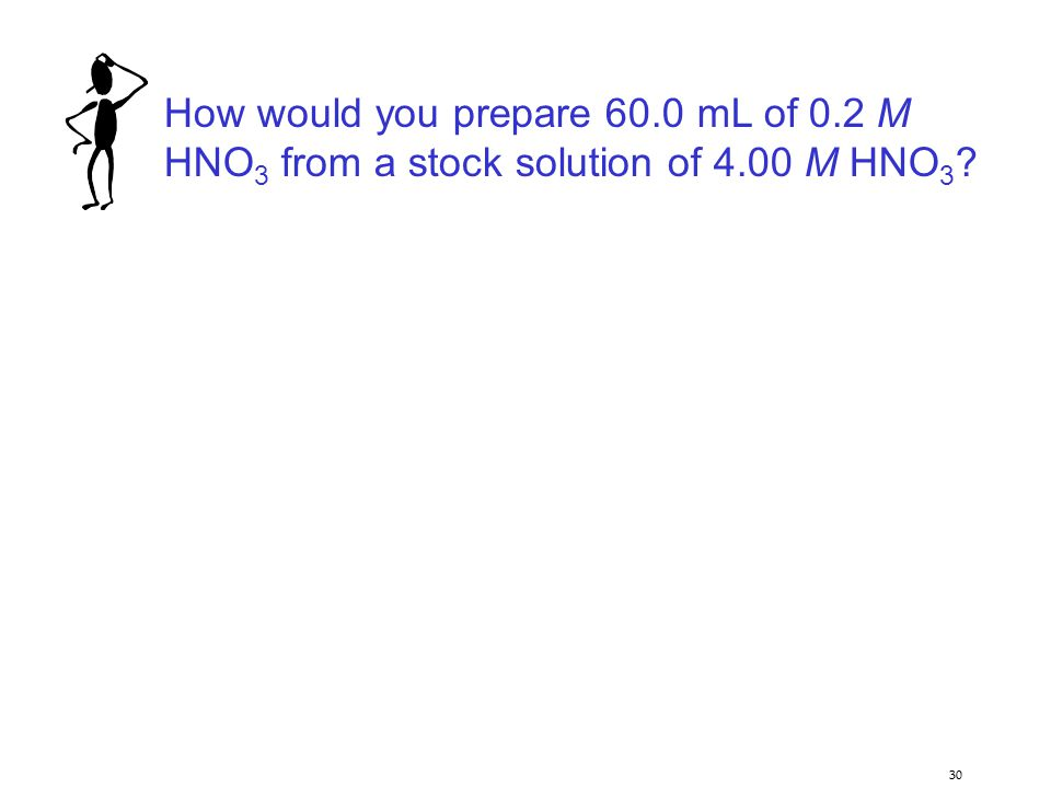 30 How would you prepare 60.0 mL of 0.2 M HNO 3 from a stock solution of 4.00 M HNO 3 ?