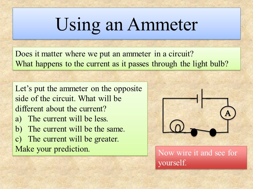 Using an Ammeter Does it matter where we put an ammeter in a circuit? What happens to the current as it passes through the light bulb? Does it matter