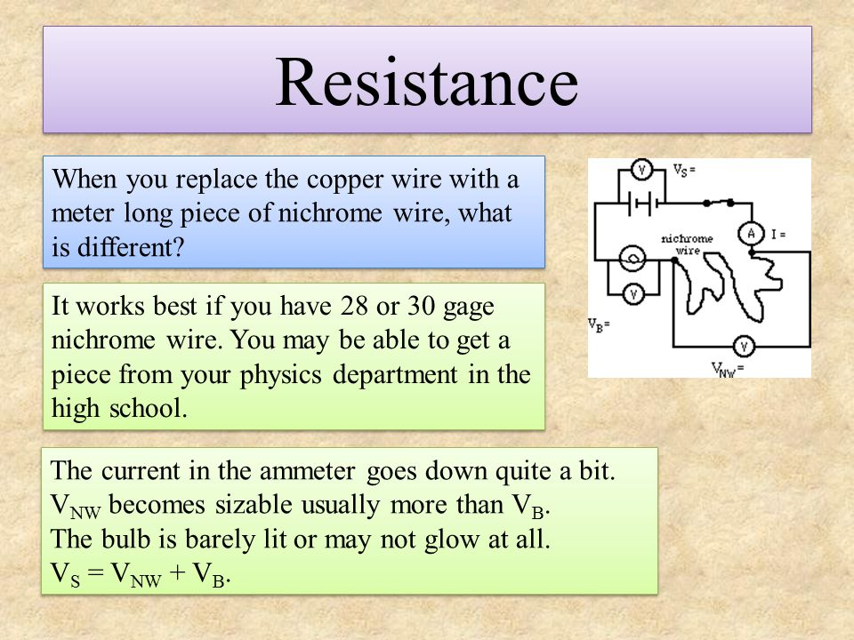 Resistance When you replace the copper wire with a meter long piece of nichrome wire, what is different? It works best if you have 28 or 30 gage nichr