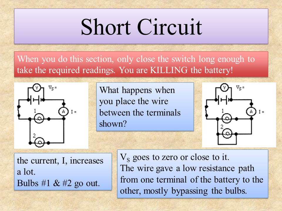 Short Circuit When you do this section, only close the switch long enough to take the required readings. You are KILLING the battery! What happens whe