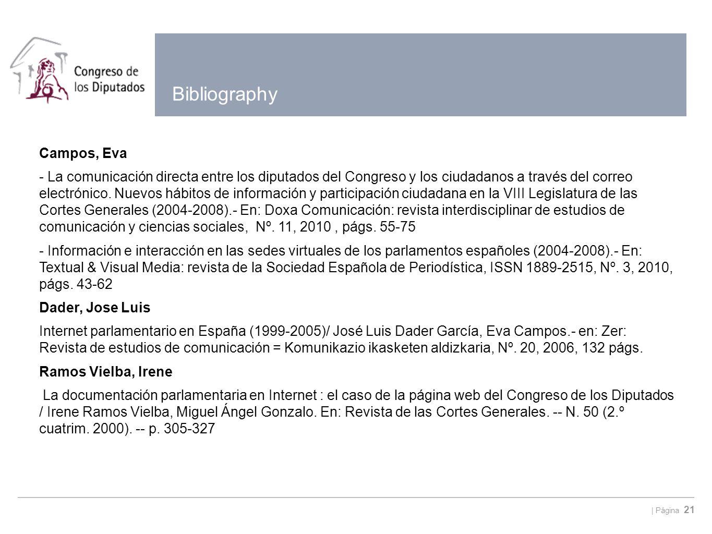   Página 21 Bibliography Campos, Eva - La comunicación directa entre los diputados del Congreso y los ciudadanos a través del correo electrónico. Nuev