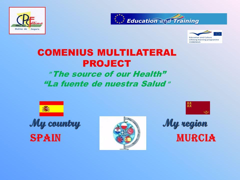COMENIUS MULTILATERAL PROJECT The source of our Health La fuente de nuestra Salud My country My region My country My region Spain Murcia