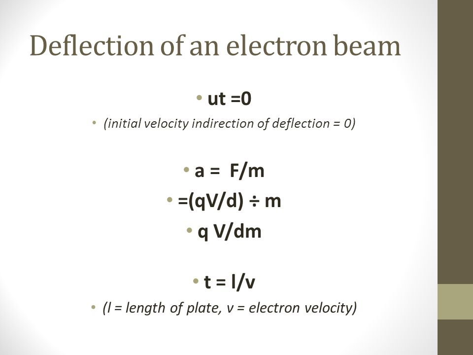 Deflection of an electron beam ut =0 (initial velocity indirection of deflection = 0) a = F/m =(qV/d) ÷ m q V/dm t = l/v (l = length of plate, v = electron velocity)