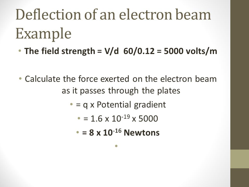 Deflection of an electron beam Example The field strength = V/d 60/0.12 = 5000 volts/m Calculate the force exerted on the electron beam as it passes through the plates = q x Potential gradient = 1.6 x 10 -19 x 5000 = 8 x 10 -16 Newtons