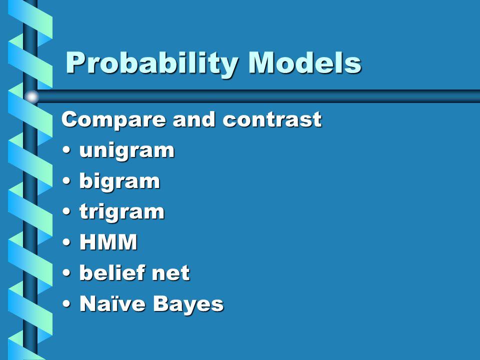 Probability Models Compare and contrast unigramunigram bigrambigram trigramtrigram HMMHMM belief netbelief net Naïve BayesNaïve Bayes