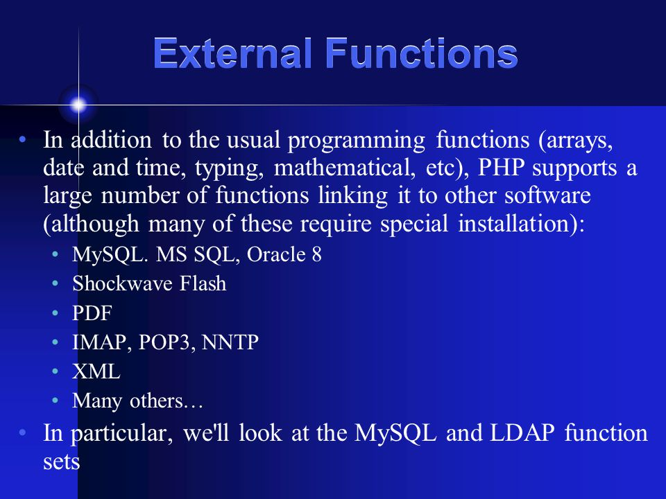 Review: PHP 5 Architecture Recall that PHP is modular… image from http://www.zend.com/zend/art/intro.php