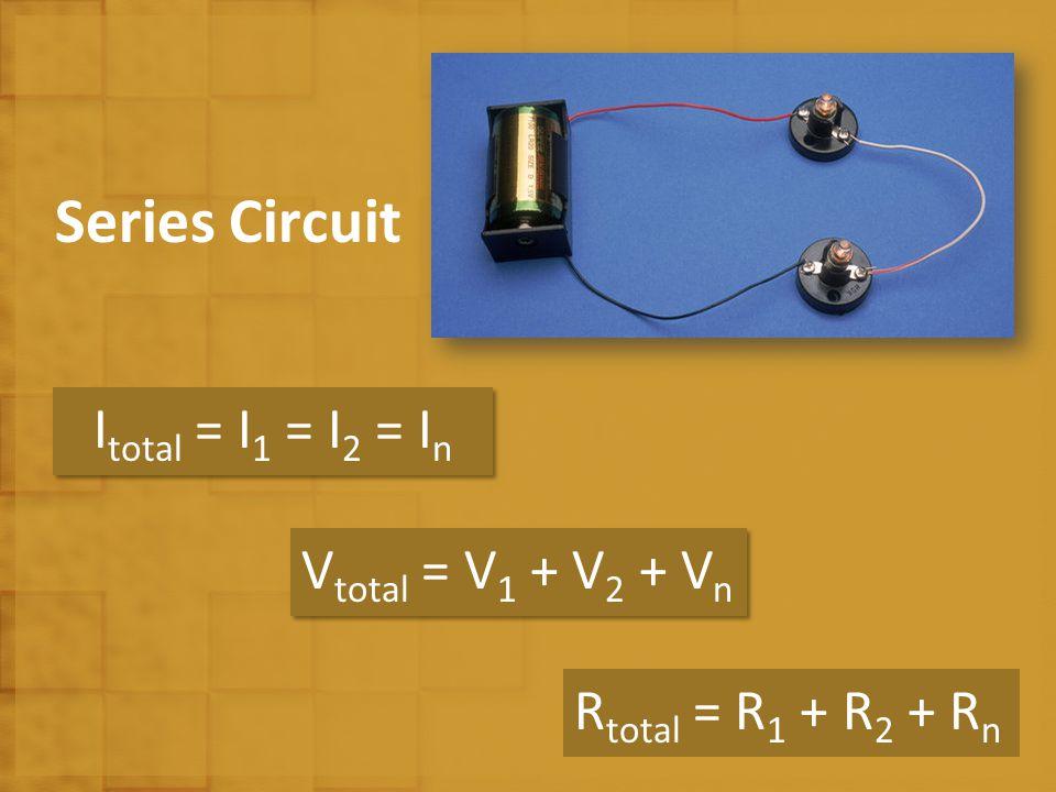 Series Circuit I total = I 1 = I 2 = I n V total = V 1 + V 2 + V n R total = R 1 + R 2 + R n