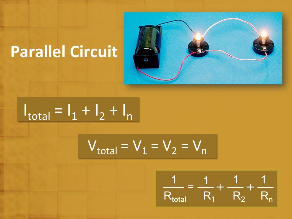 Parallel Circuit I total = I 1 + I 2 + I n V total = V 1 = V 2 = V n = ++ RnRn R2R2 R1R1 1 11 R total 1