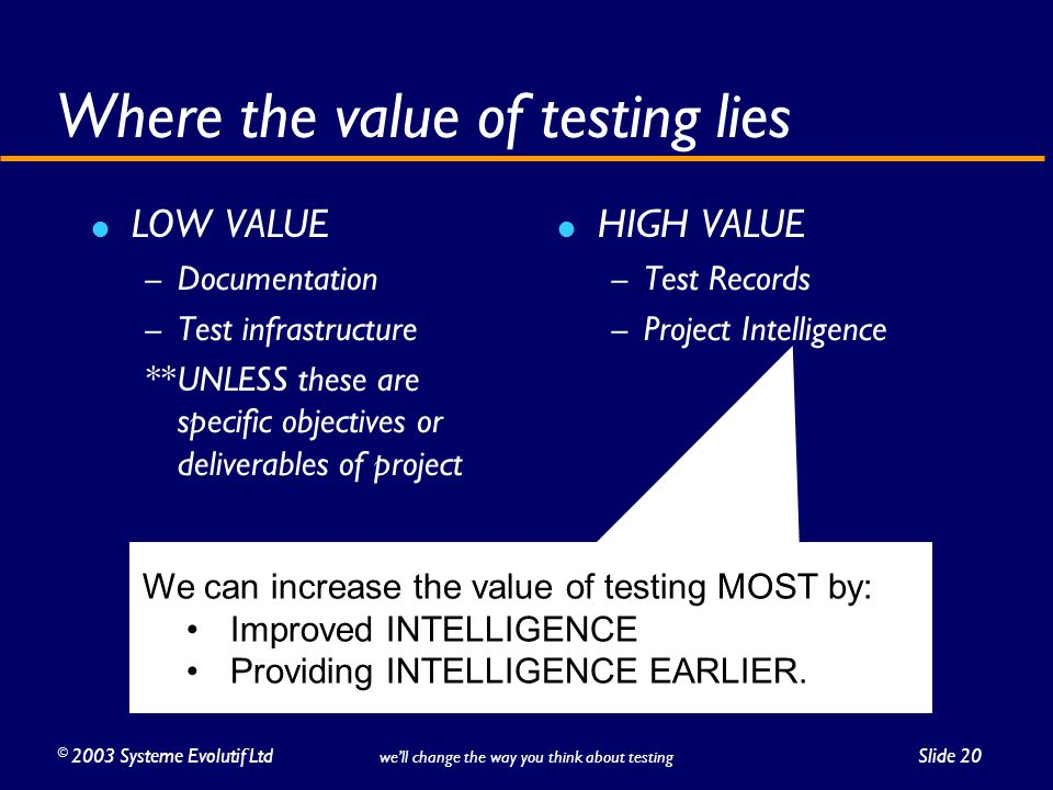 ©2003 Systeme Evolutif LtdSlide 20 we'll change the way you think about testing Where the value of testing lies LOW VALUE – Documentation – Test infrastructure **UNLESS these are specific objectives or deliverables of project HIGH VALUE – Test Records – Project Intelligence We can increase the value of testing MOST by: Improved INTELLIGENCE Providing INTELLIGENCE EARLIER.