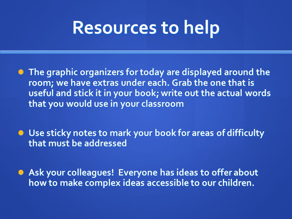 Resources to help The graphic organizers for today are displayed around the room; we have extras under each.