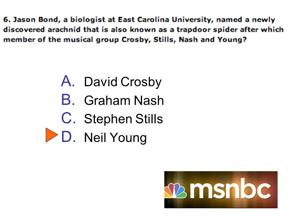 A. David Crosby B. Graham Nash C. Stephen Stills D. Neil Young