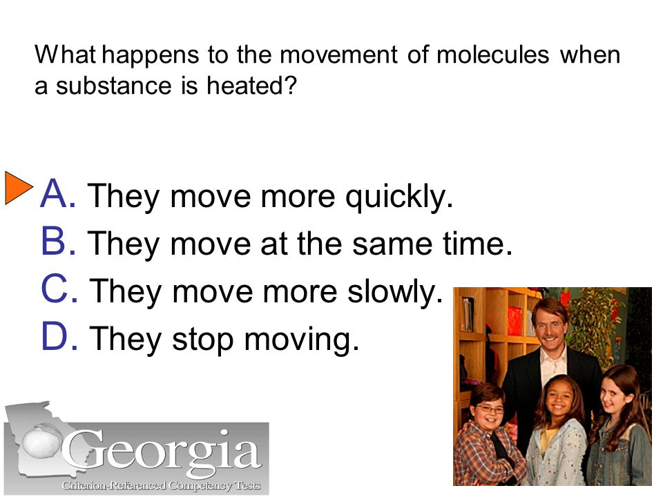 What happens to the movement of molecules when a substance is heated.