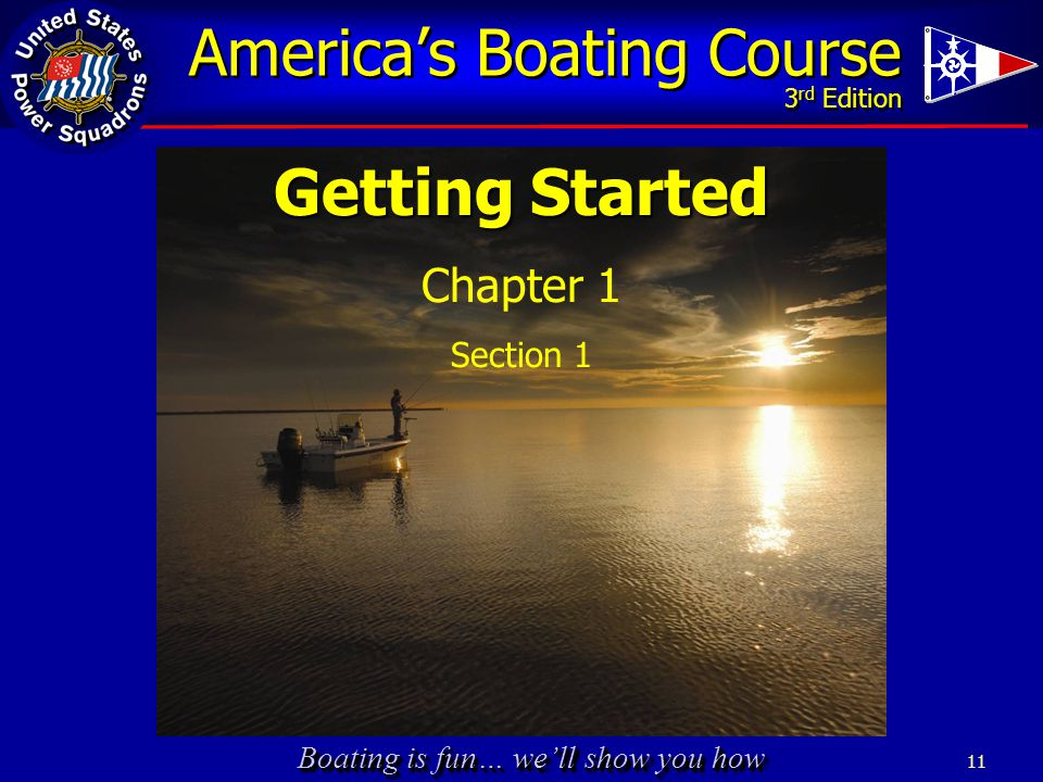 Boating is fun… we'll show you how 11 Getting Started Chapter 1 Section 1 America's Boating Course 3 rd Edition