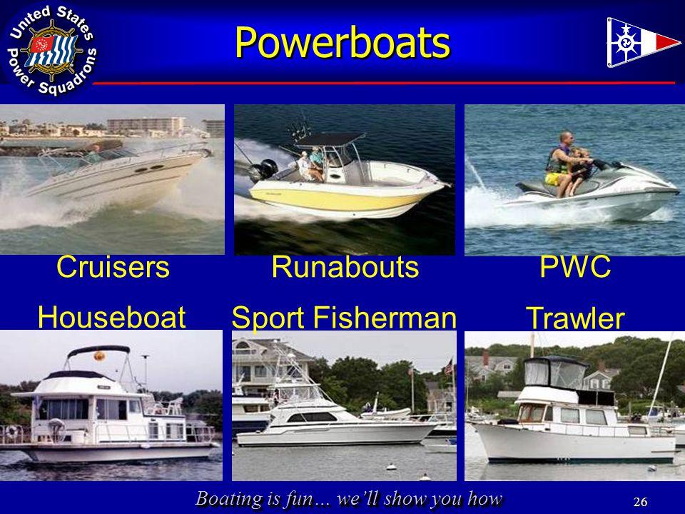 Boating is fun… we'll show you how 26 Powerboats PWCRunaboutsCruisers Sport Fisherman Trawler Houseboat