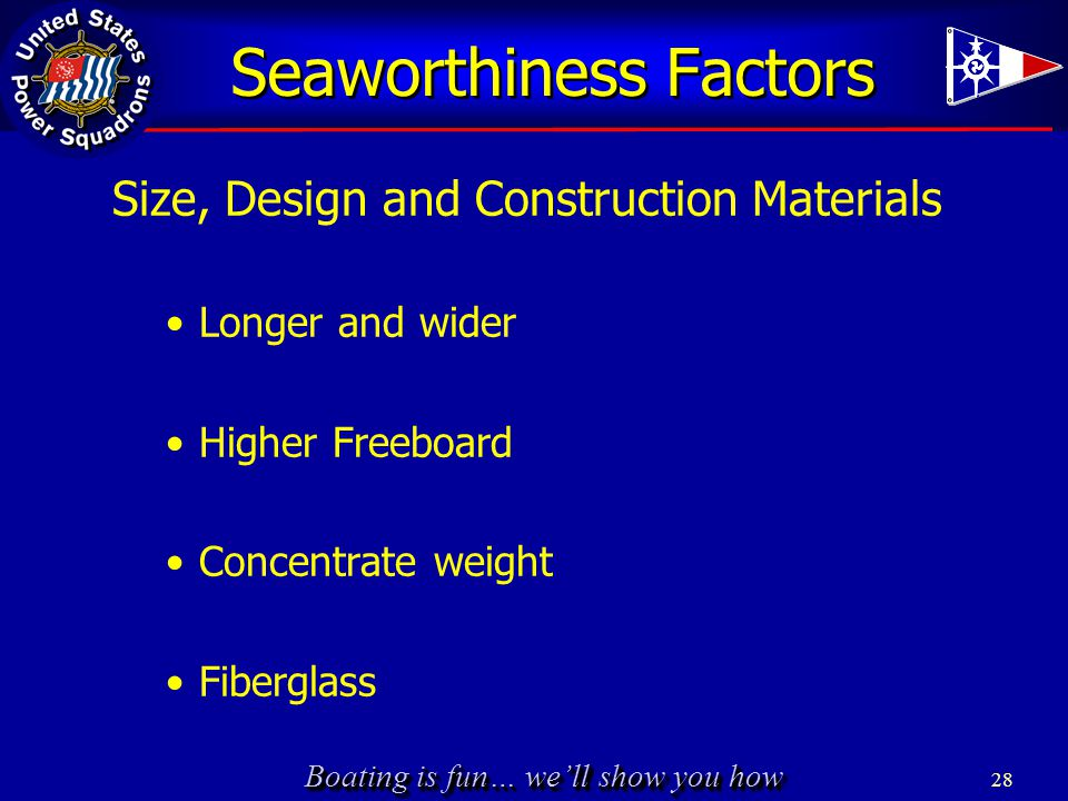 Boating is fun… we'll show you how 28 Seaworthiness Factors Size, Design and Construction Materials Longer and wider Higher Freeboard Concentrate weig