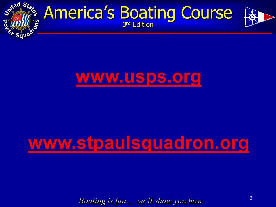 Boating is fun… we'll show you how America's Boating Course 3 rd Edition 3 www.usps.org www.stpaulsquadron.org