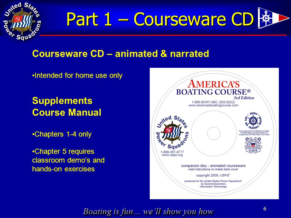Boating is fun… we'll show you how Part 1 – Courseware CD 6 Courseware CD – animated & narrated Intended for home use only Supplements Course Manual C