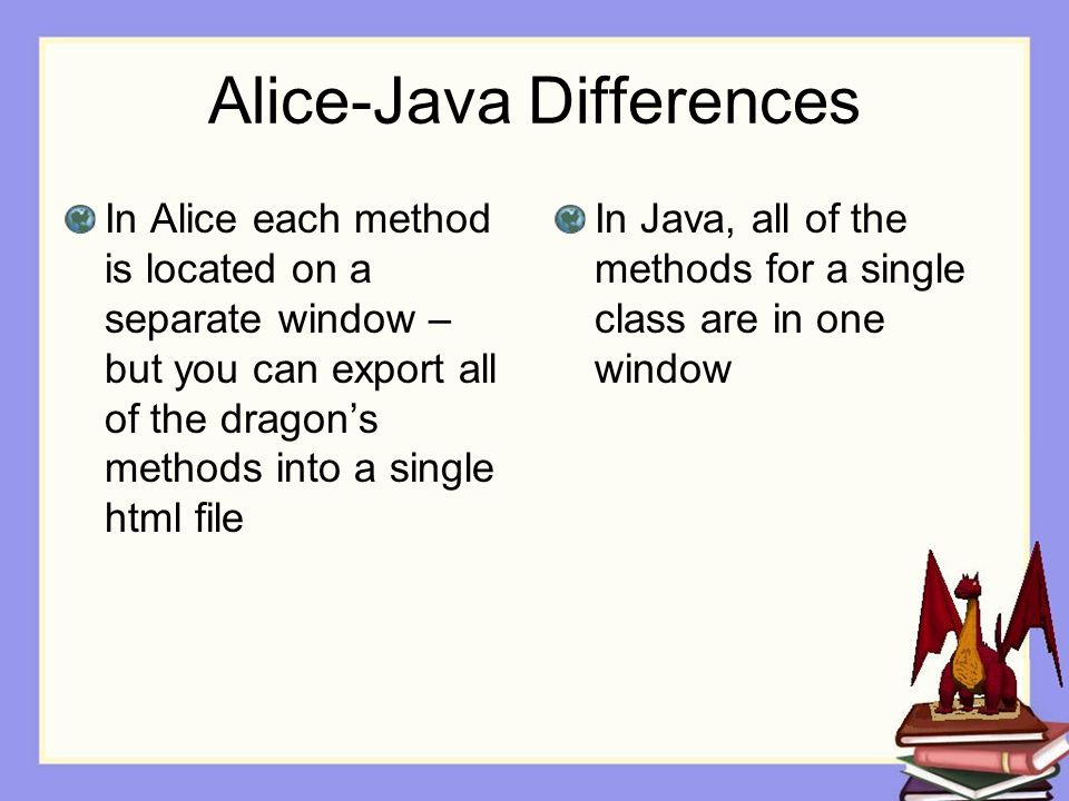 Alice-Java Differences In Alice each method is located on a separate window – but you can export all of the dragon's methods into a single html file In Java, all of the methods for a single class are in one window