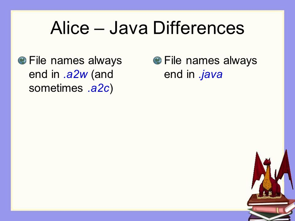 Alice – Java Differences File names always end in.a2w (and sometimes.a2c) File names always end in.java