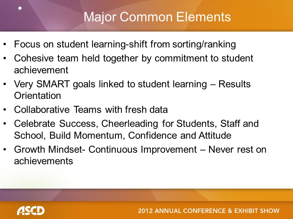 Focus on student learning-shift from sorting/ranking Cohesive team held together by commitment to student achievement Very SMART goals linked to stude