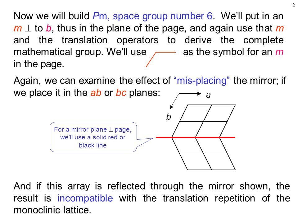 2 Now we will build Pm, space group number 6. We'll put in an m  to b, thus in the plane of the page, and again use that m and the translation operat