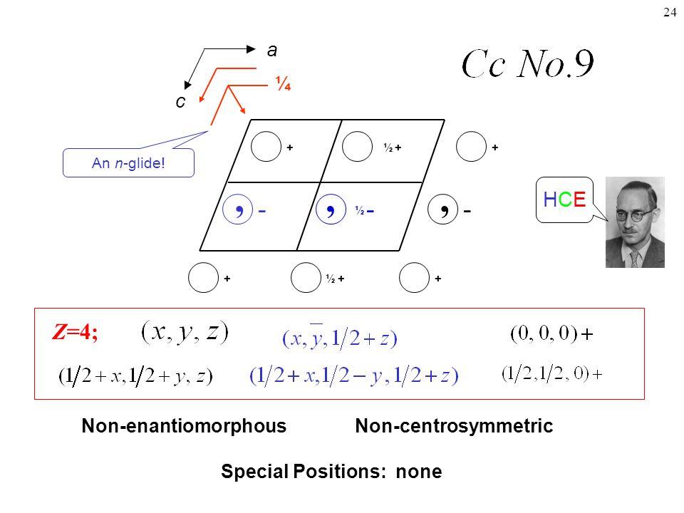24 -, Z=4; -, + ++½+ Non-centrosymmetricNon-enantiomorphous Special Positions: none a c + - ½, ½+ HCEHCE ¼ An n-glide!