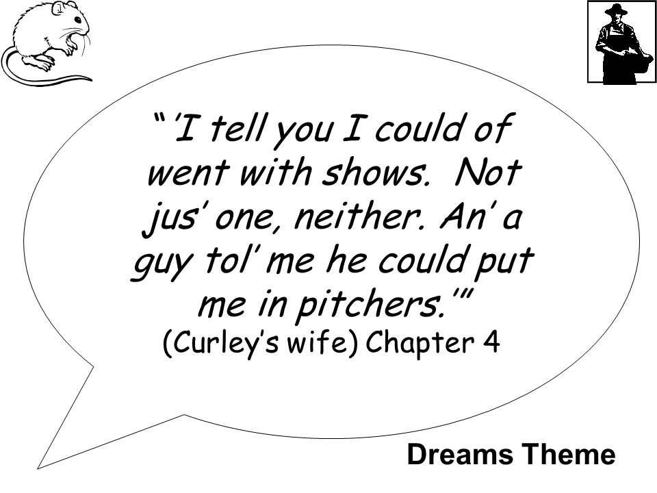 """'I tell you I could of went with shows. Not jus' one, neither. An' a guy tol' me he could put me in pitchers.'"" (Curley's wife) Chapter 4 Dreams Them"