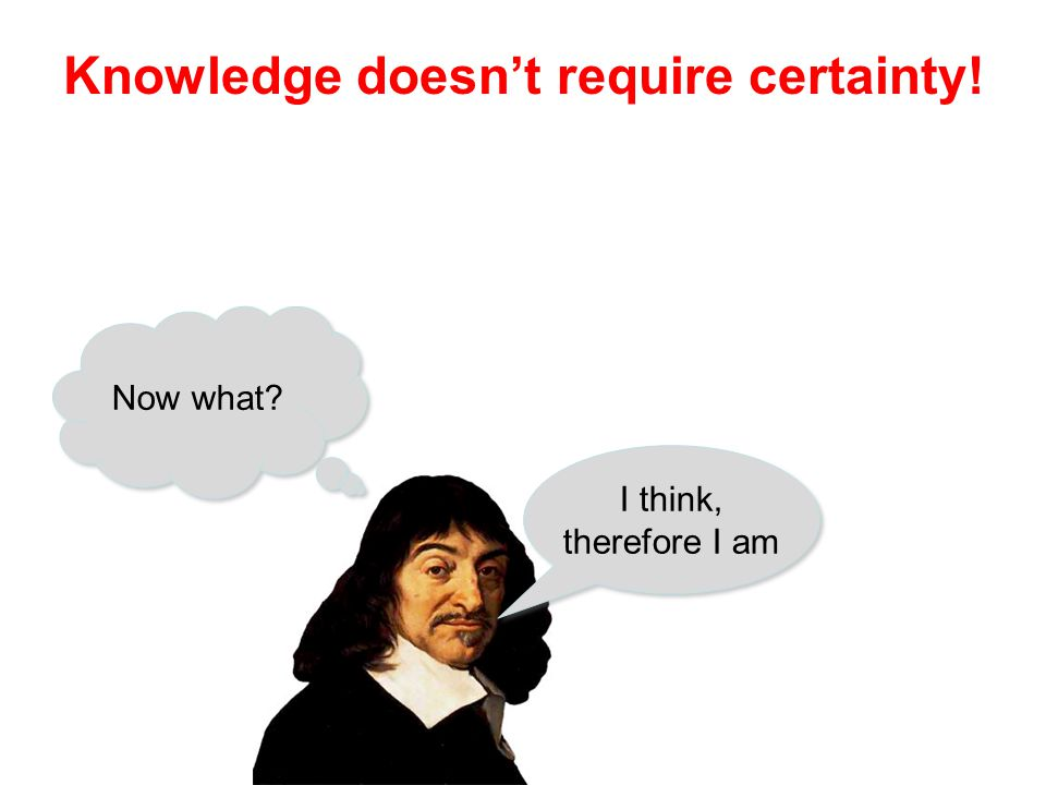 Sources of knowledge Sense perception Introspection Memory Reason Expert testimony Reliable… but not infallible!